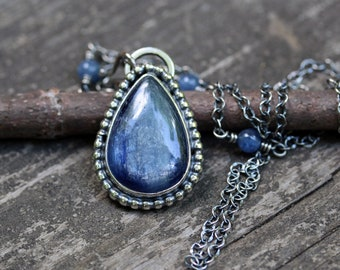 Kyanite necklace / stelring silver beaded necklace / blue stone necklace / gift for her / jewelry sale / cable chain / beaded chain