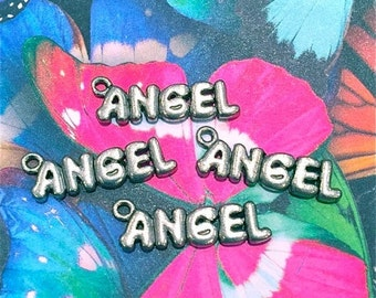 Angel Word Charms -4 pieces-(Antique Pewter Silver Finish)