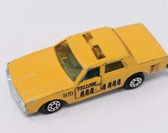 Majorette Chevrolet Impala No. 240 Yellow Taxi Cab 1976 Yellow with Black Lettering and Numbers Retro and Vintage Miniature Metal Cars