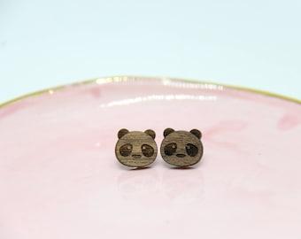 Wooden Walnut Panda Earrings - Lasercut - Wood Earrings - Stud Earrings
