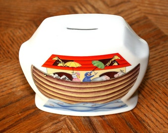 Vintage ROYAL WORCESTER Noah's Ark Piggy / Coin Bank ~ Porcelain ~ Designer Penny Ives ~ 1983 Retro Home Decor ~ Estate Sale