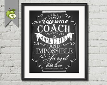 Coach appreciation gift, coach poster, card, thank you sports gift, A truly awesome coach, impossible to forget, Coach printable, retirement