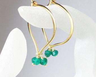 Green Onyx Hoops, Lotus Hoop Earrings, 24K Gold Vermeil, Medium or Large