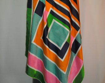 Vintage Multi Color Geometric Print Scarf