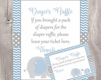 Blue Elephants Baby Shower Diaper Raffle Sign and Tickets, Blue and Gray Diaper Raffle, Instant Download, Printable Game, Boy Baby Shower