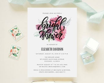 Floral Bridal Shower, Luncheon, Brunch Invitation Watercolor Foliage  // Botanical, Garden, Bohemian // Printed Cards and Envelopes