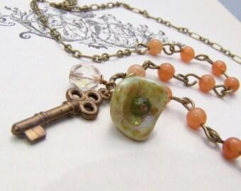 Carnelian Necklace with Key Charm