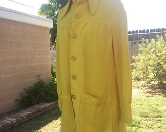 Mustard yellow funky vintage 60s 70s button up top