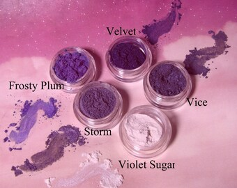 Eye Shadow Mineral Makeup Colors 5 Stack Smoky Violet Purple Collection Stackable