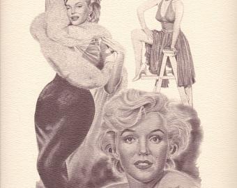 Vintage Marilyn Monroe Lithograph by Glen Banse