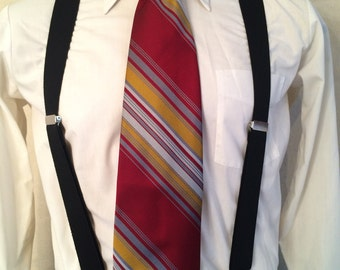 1970s Striped Necktie - Mens Wide Polyester Necktie - Hand Detailed - Disco - Red - Stripes - Yellow - Hand Detailed - Exclusive Fabric