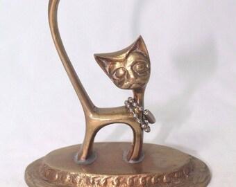 "Paperweight Solid Brass Cute Cat Kitten Kitty Figurine on Pedestal 3.5""x 3.75"""