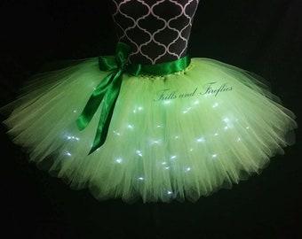 Green LED Tulle Skirt/Light Up Tutu Skirt/Lighted Tutu Skirt/Festival Clothing/Cosplay Costume/Tutu Skirt/Halloween/Bridal Skirt/Costume
