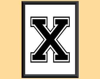 Typography Digital Print Monogram Initial Wall Art Varsity Letter X