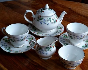 Vintage Duchess Tea set strawberry Fields, vintage tea cup, pretty tea cup, bone china tea cup, pretty china teapot,
