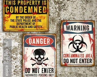 Zombie Party Wall Decor, Halloween Party Decor, Large Signs A3 size, Instant Download, Print Your Own