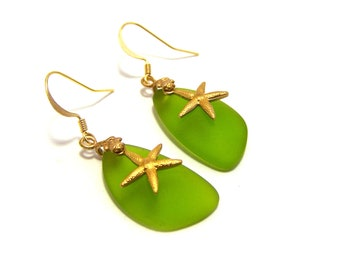 Nautical Handcrafted Green Sea Glass and Brass Starfish Earrings / Gift for Her
