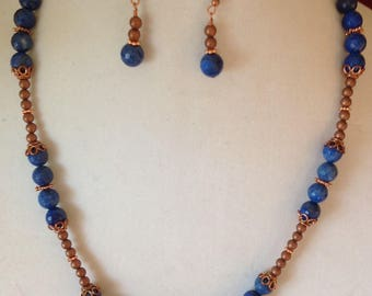Copper Blue Tango:  Copper and Lapis Necklace