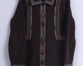 Scriba Womens L Coat Brown Wool Embroidery Folk Single Breasted Top