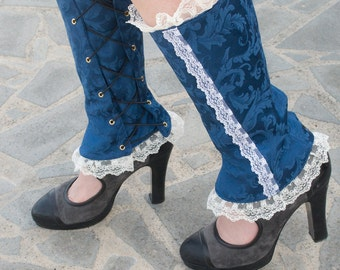 Steampunk and victorian Gaiters with lace, Spats fashion accessories