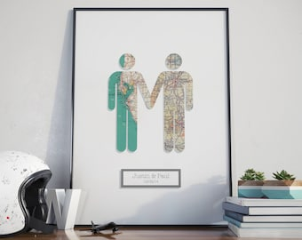 3D Take My Hand - Guy & Guy / Gay Wedding Marriage Engagement Anniversary 3 Dimensional Wall Art Gift