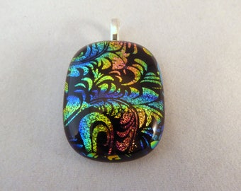 Colorful Dichroic Fused Glass Pendant, Multi Colored, Fused Glass, Fused Glass Pendant, Glass Pendant, Dichroic Pendant, Dichroic, Rainbow