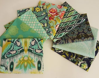 Eden Blue & Green Fat Quarter Bundle (9 prints, 2.25 yards total) - Tula Pink - Free Spirit Fabrics