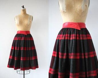 vintage 1980 skirt / 80s Escada plaid skirt / 80s leather and wool skirt / 80s full skirt / 80s designer skirt / red plaid / 29 inch waist