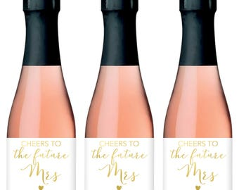 Bridal Shower Champagne Labels, Bridal Shower Mini Champagne Bottle Labels, Bridal Shower Champagne Label, Cheers to the Future Mrs