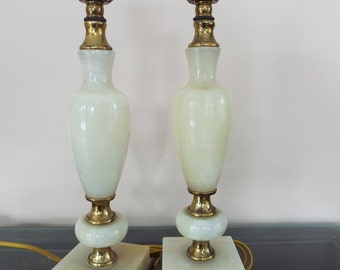 Onyx brass lamp etsy antique pair alabaster marble onyx brass boudoir urn table lamps paris apartment boudior lamp mozeypictures Images