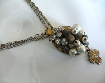 Rhinestones Pearls & The Four Way Cross Necklace