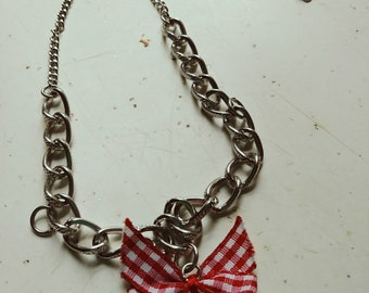 Red and White Bow Tie Necklace