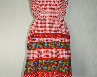 70's Vintage Style Pop Boutique Red & White Gingham Floral Peasant Dress Re-purposed Festival Boho