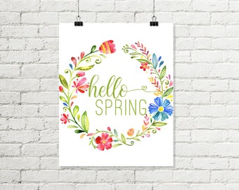 Hello Spring Print, Bright Floral Wreath Printable Wall Art Pink Blue Green Home Decor 8x10 11x14 Instant Digital Download