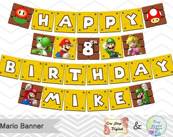 Printable Super Mario Banner, Super Mario Birthday Party Banner, Instant Download Super Mario Bunting, Mario Birthday Party Bunting 0062