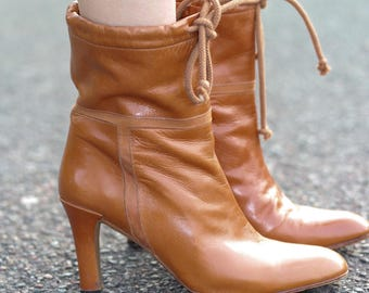 Leather ankle boots retro