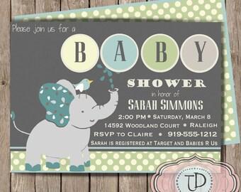 Printable Elephant Baby Shower Invitation, Boy