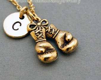 Gold boxing charm etsy boxing gloves necklace boxing glove charm antique gold initial necklace initial hand stamped personalized monogram aloadofball Image collections