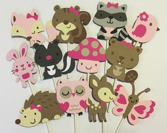 24 Girl theme Woodland Cupcake Toppers; Forest cupcake toppers; Woodland Girl Baby Shower; Woodland Girl Decorations