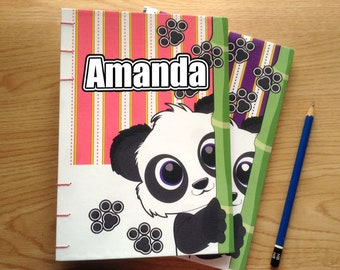Personalized Journal, Panda Notebook, Sketchbook, Custom Journal, Personalized Gift, Personalized Notebook, Blank Notebook, Customized Gift