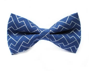 Navy and Silver Bow Tie