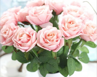 Real Touch Flowers Roses 10 Stems Realistic Blush Pink Wedding Flowers For Table Centerpieces Ceremony Reception