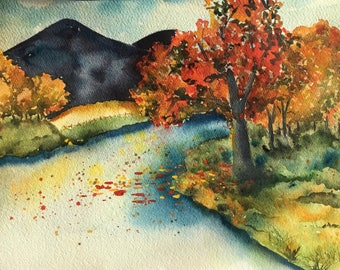 Original watercolor landscape painting Office Decor Cublcle Decor Wall Art Painting of Tree Cabin Decor Housewarming Gift for Him Fall Decor