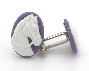 Resin horse cameo cuff links. Purple
