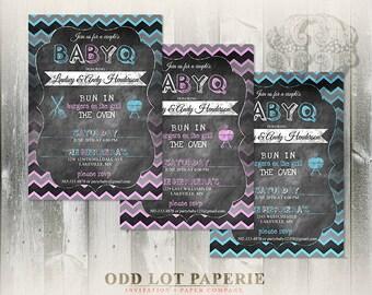 Co-ed BabyQ Shower Invitation Boy and Girl and Twins, Rustic Chalkboard Chevron Baby Shower DIY invitation, Party Printable  Invitation