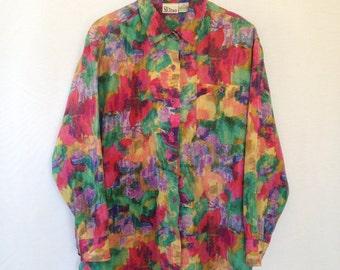 1990s multicolored silk blouse by SILTERO sz M