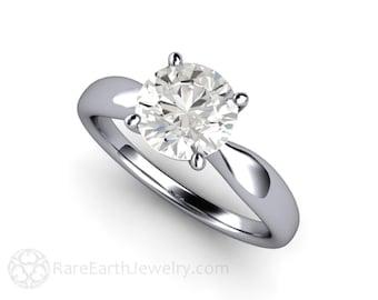 Forever One Solitaire Moissanite Engagement Ring 14K or 18K Gold Platinum Conflict Free Diamond Alternative