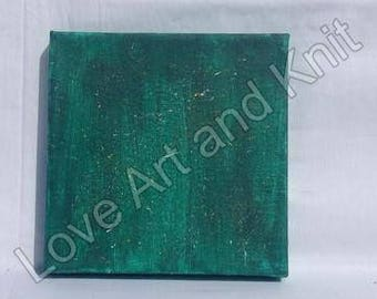 canvas acrylic painting, green size 15x15 cm, art, acrylic, painting, abstract painting, original painting