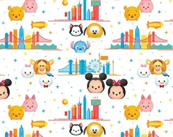 Tsum Tsum Fabric Disney Tsum Tsum Travel Fabric by Springs Creative Mickey Mouse Pluto Minnie Mouse Donald Duck Daisy Duck London New York