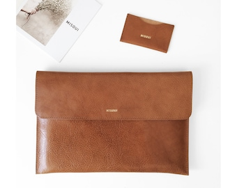 "NEW!! Leather Macbook 12"" Sleeve, Light brown Office Bag, Padded, Leather Sleeve, great for a gift"